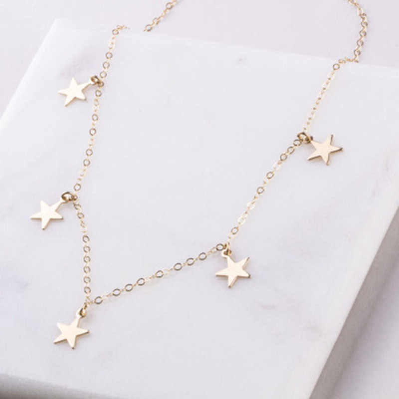 Simples novo pure artesanal estrela jóias pentagrama colar borla curto colar estrela moda bohemia charme feminino preferido