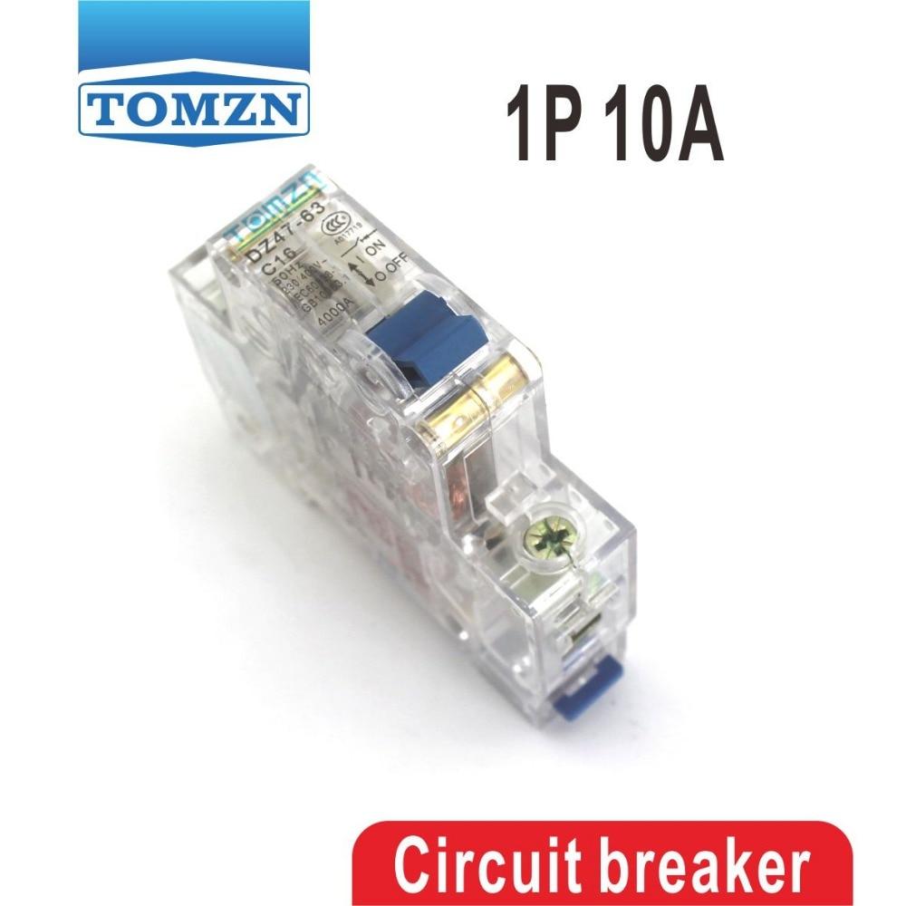 Hot Sale 1p 10a Transparent Case 10 Ampere Mini Circuit Breaker Mcb Electrical Machine Miniature