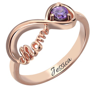 Rose Gold Color Infinity Birthstone Ring Mother S Ring Engraved Name Ring Infinity Symbol Ring Gift