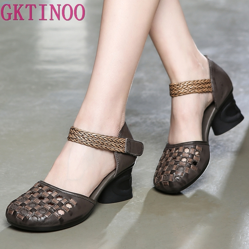 GKTINOO Genuine Leather Women Sandals Summer Shoes 6CM High Heels Retro Handmade Women Shoes 2019 Hollow