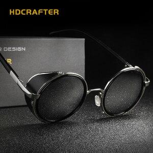 Image 4 - HDCRAFTER lunettes de soleil pour hommes et femmes, verres miroirs, style Steampunk, unisexe, Vintage, rétro