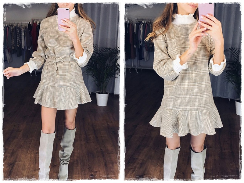 Simplee Elegant plaid dress women Turtle neck knitted short dress female Ruffle sashes vintage autumn office ladies vestidos 6