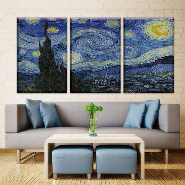 Della tela di canapa Pittura Complementi Arredo Casa di arte della parete  soggiorno No Frame Stellato di notte Della Parete Pittura Vincent Willem  Van ...