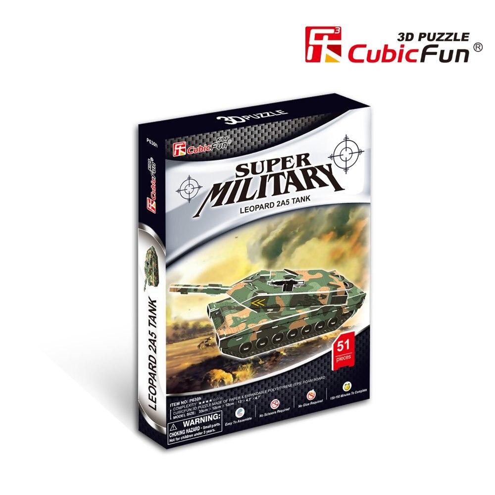 Cubic Fun 3d puzzle paper  jigsaw Leopard 2A5 tank model  diy toys for boys P630H