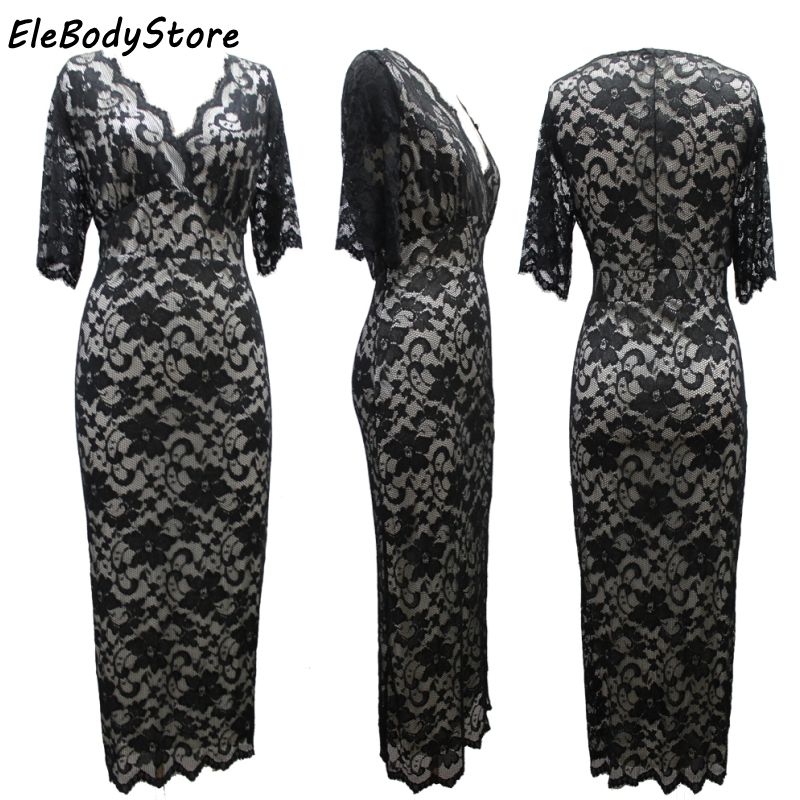 e9eb8473347 ELEBODYSTORE 6XL 7XL Plus Size 2018 Women Elegant Casual Sexy V Neck Lace  Summer Dress Womens Slim Fit Dresses Clothing Party-in Dresses from Women s  ...