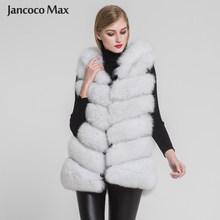 Jancoco Max 2019 New Winter Women Real Fox Fur Hooded Vest Top Quality Fashion 6 Rows Gilet S7236