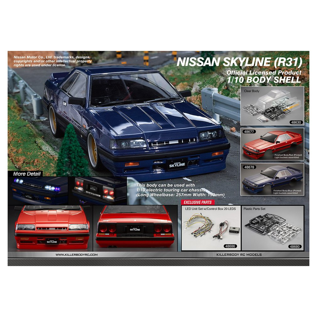 Killerbody Nissan Skyline (R31) Clear Body for 1/10 Electric Touring Car Exquisite Mechanical Work Portable SizeKillerbody Nissan Skyline (R31) Clear Body for 1/10 Electric Touring Car Exquisite Mechanical Work Portable Size
