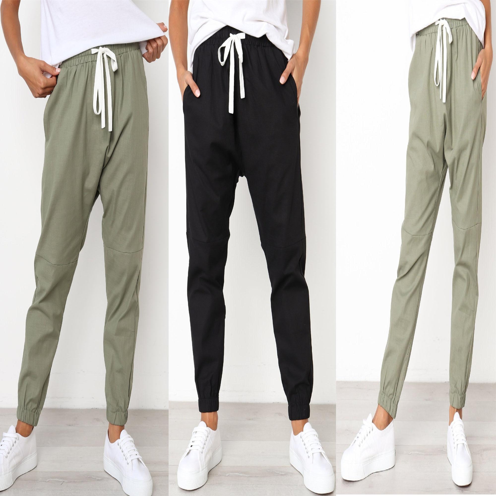 Summer New Women Cargo   Pants   Elastic Waist Solid Trousers Ankle Length   Pants   Joggers Streetwear Sweat   Pants     Capris   Female PT017