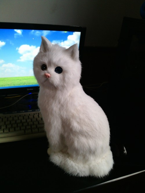 big sitting simulation white cat model plastic&fur cute cat doll gift 35x15cm a180 inclusive education in kenya perspectives of special educators