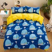 New Fashion Bedding Set 4pcs/3pcs sulphur-bottom Duvet Cover Sets Soft Polyester Bed Linen Flat Bed Sheet Set Pillowcase