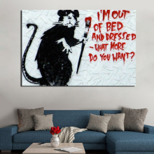 Banksy Street Art Cat Wallpaper Canvas Painting Print Living Room Home Decoration Artwork Modern Wall Art Oil Painting Posters футболка print bar street art