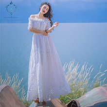 CUERLY 2019 women elegant slim bodycon long formal party dress beach maxi lace white off the shoulder hollow out sexy dresses