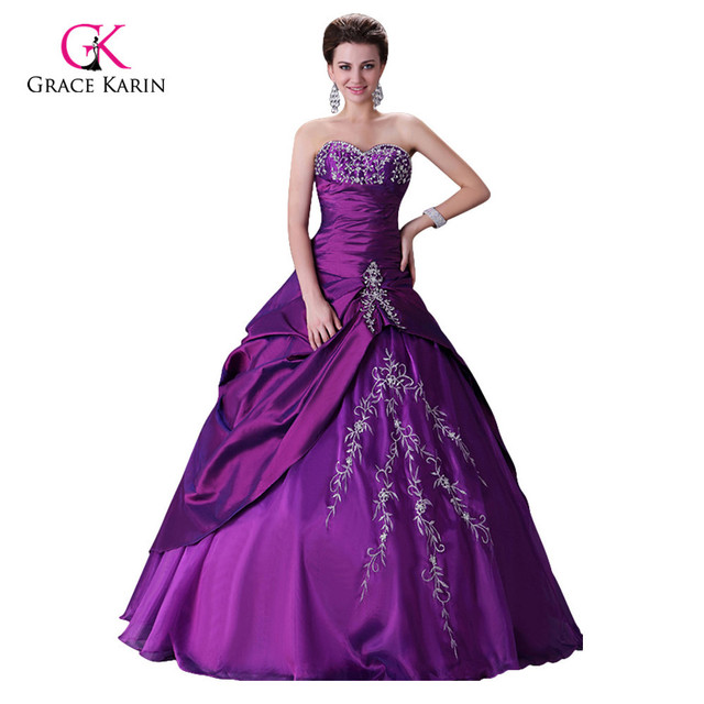 Purple Wedding Dress Grace Karin Cheap Ball Gown Vestido De Noiva China Long Bridal Robe