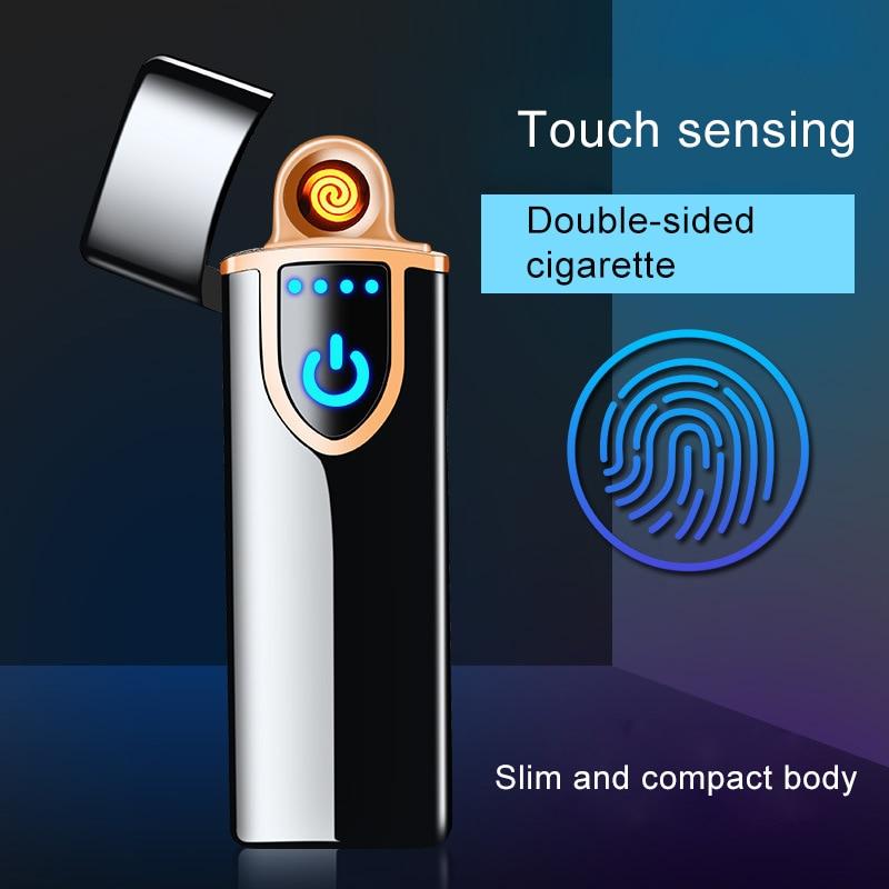 High Quailty Mini USB Electronic Tungsten Cigarette Lighter Charging Sensor Touch Screen Flameless Rechargeable Windbreak