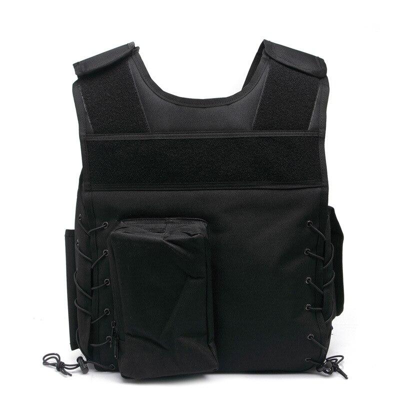 Outdoor sports protective vest tactical vest military fans protective outdoor war game military skull half face shield mask black