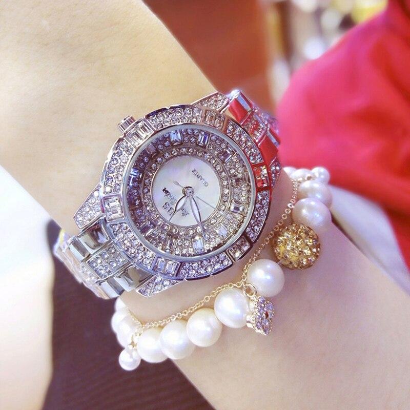 BS bee sister Dress Watch Women Luxury Designer Brand Silver Austrian Crystal Waterproof Quartz Watch Ladies relogio feminino