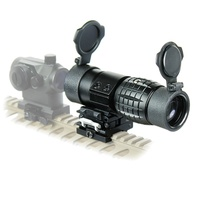 Hnting 3X Magnifier Scope Compact Tactical Sight with Flip to 20mm Rifle Gun Rail Mount