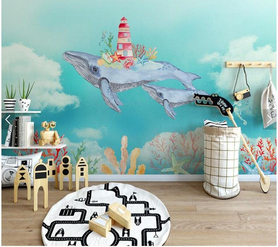 Personalizzato carta da parati per bambini, acquerello marine balena murales per soggiorno camera dei bambini divano sfondo carta da parati impermeabilePersonalizzato carta da parati per bambini, acquerello marine balena murales per soggiorno camera dei bambini divano sfondo carta da parati impermeabile