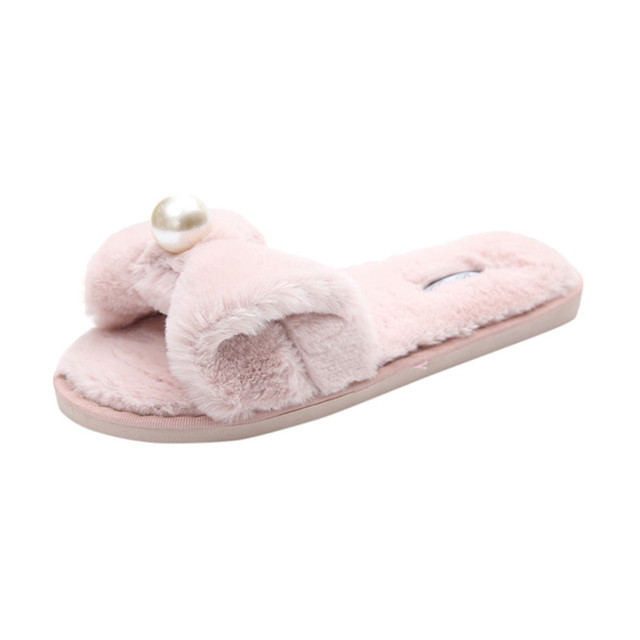 0219b85fc1e0 2018 Womens Ladies Slip On Sliders Fluffy Faux Fur Flat Slipper Flip Flop  Sandals Pearl Bowknot Casual Indoor Outdoor Slippers
