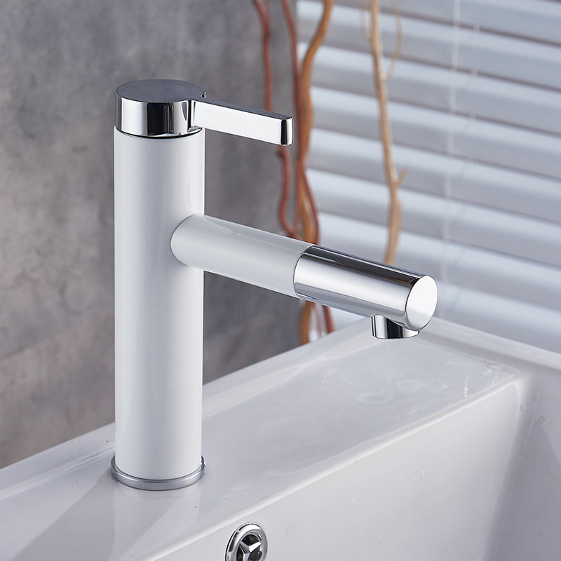 New Fashion Brass Black White Baking Bathroom Faucet Lavatory Vessel Sink Basin faucet Mixer Tap Cold Hot Water taps 225W01351 blackened bronze square washing basin faucet one handle pull out sprayer bathroom vessel sink hot and cold water taps