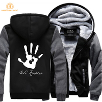 HAMPSON LANQE Skyrim Dark Brotherhood We Know Hand Brand Hoodies Men 2017 Winter Jackets Mens Sweatshirt Plus Size Streetwear
