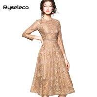 Ryseleco Fashion Autumn Quality Floral Lace Patchwork Cutout Elegant Flare Party Dresses Women A Line Casual Formal Midi Dress