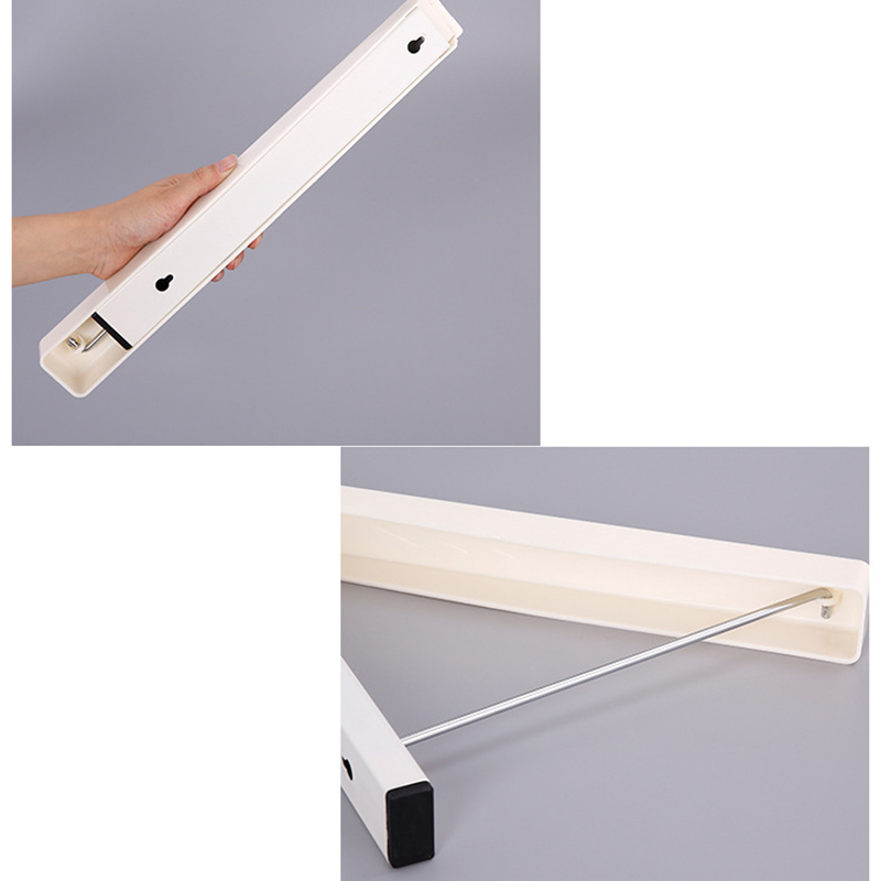 QuickDone Folding Wall Hanger Mount Retractable Waterproof Clothes Rack Indoor Coat Organization Space Saving Home Tool HG0554
