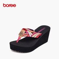 Boree Summer Women S Sandals Fashion Flip Flops Casual Shoes Soft Canvas Waterproof Platform Non Slip