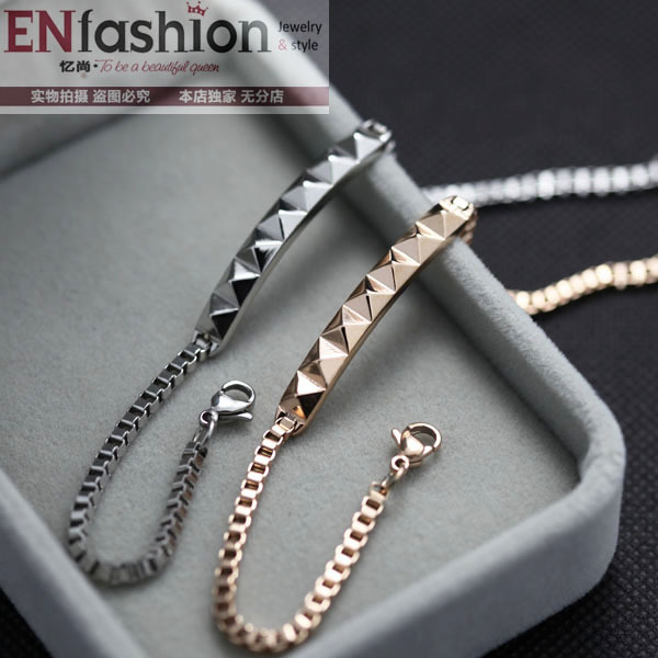 Fashion Pyramid Spike Bracelet Chain 18k Rose Gold Bracelets For Women Stainless Steel Jewelry