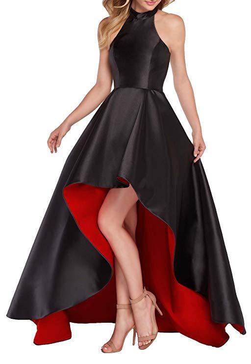 2019 Floor Length Evening Dresses High Neck Prom Party Dress Short Front Long Back Special Occasion Dress Vestido De Festa