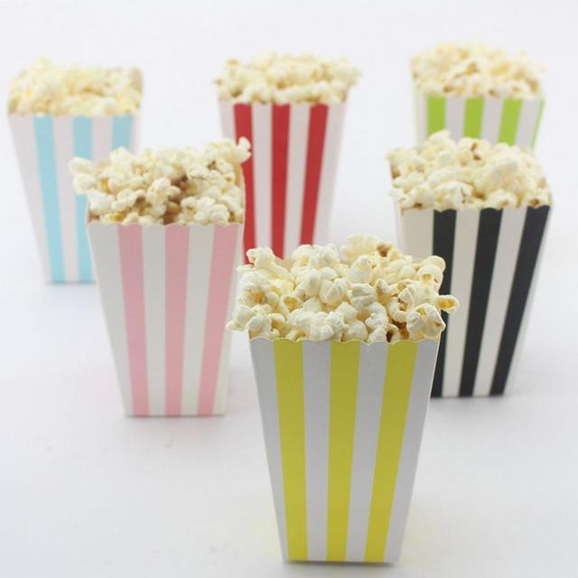 6PCS/lot Stripe Popcorn Cup Birthday Party Decoration Snacks ...