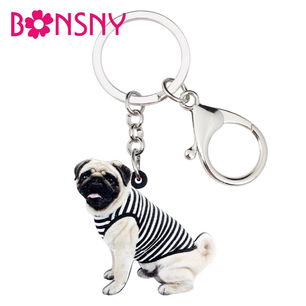 WEVENI Acrylic Vest French Bulldog Pug Dog Key Chain Keychain Ring Cute Animal Jewelry For Women Girls Teen Bag Car Purse Charms