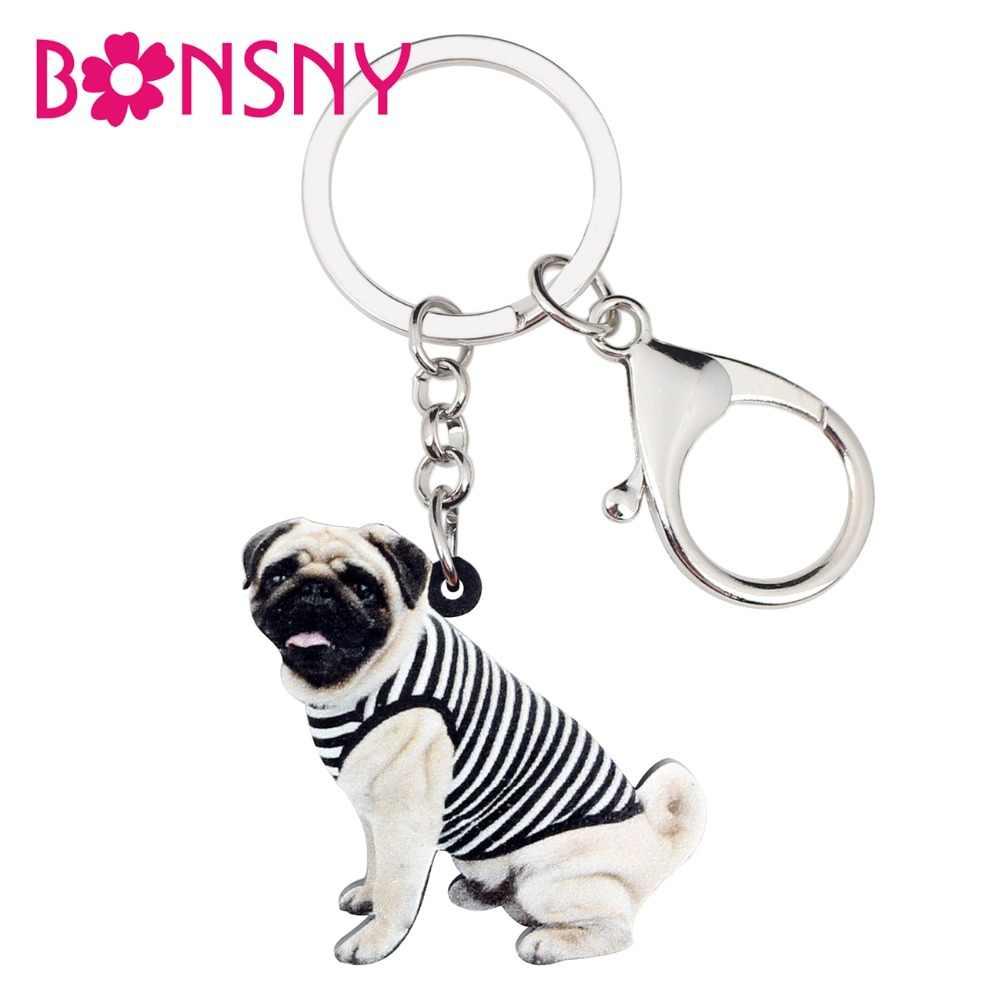 40a461b0218 WEVENI Acrylic Vest French Bulldog Pug Dog Key Chain Keychain Ring Cute  Animal Jewelry For Women