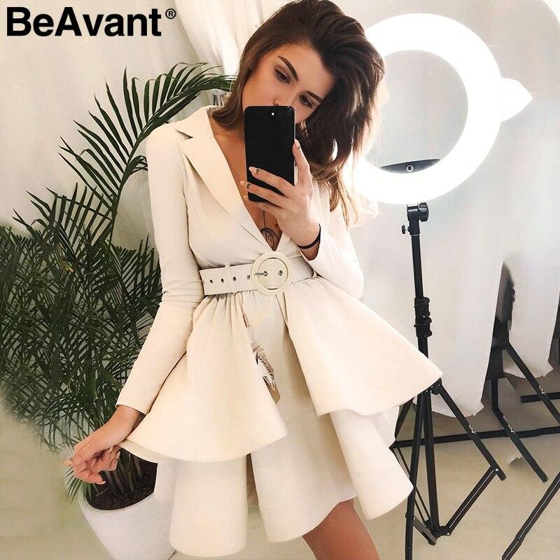 BeAvant capas colmena vestido de invierno elegante 2018 OL escalonado otoño mujeres vestido de fiesta de cintura alta faja Vestido corto suelto Mujer