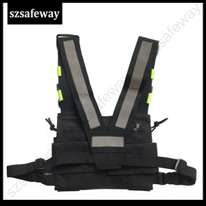Image 3 - Nylon Harness Two Way Radio Pouch Chest Bag Pack Walkie Talkie Carry Case For kenwood for Baofeng UV 5R UV 82 for Motorola