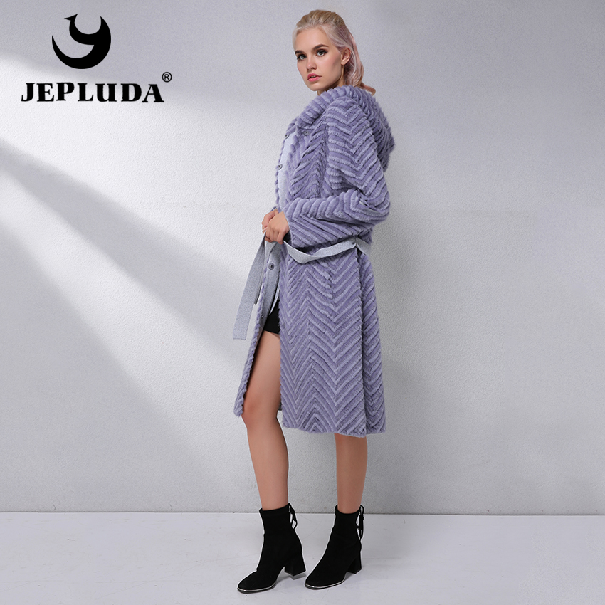 JEPLUDA Elegant Natural Real Fur Coat Women Clothes Hooded Soft Warm Real Mink Fur With Rex Rabbit Fur Coat Winter Jacket Women
