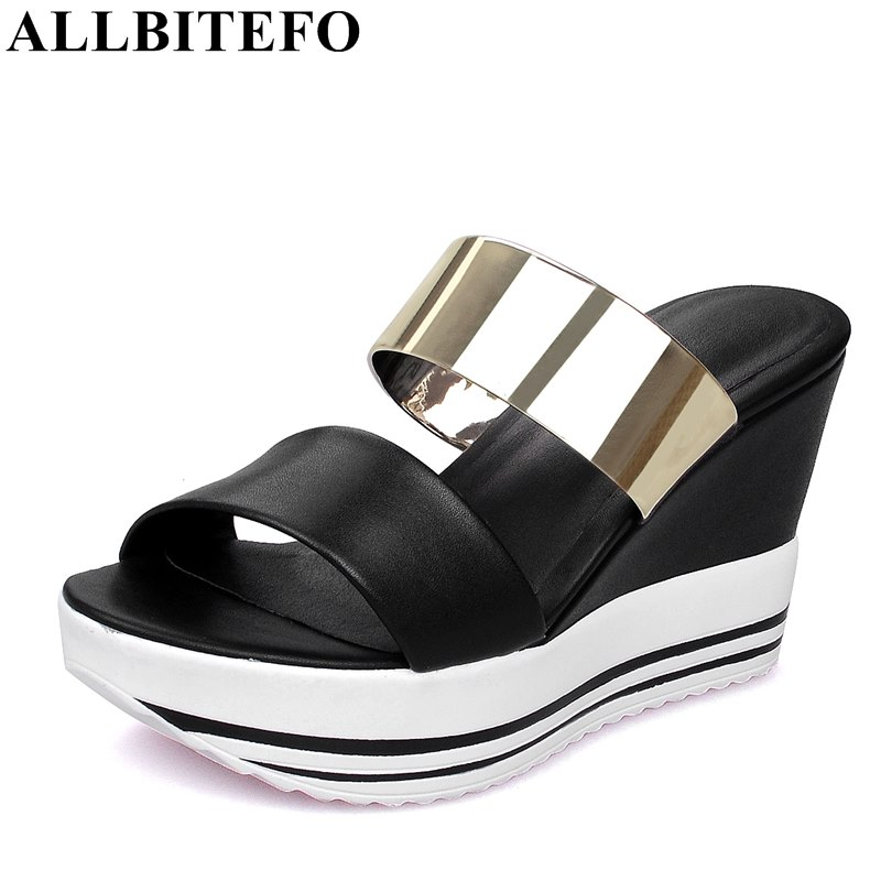 ALLBITEFO full genuine leather peep toe high heels women sandals fashion casual wedges heel platform mixed colors flip flops free shipping 100%real picture women shoes wedges high heels platform luxury ethnic diamond genuine leather peep toe sandals