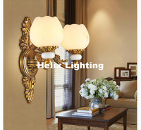 2017 Hot Selling European style Brass Lamp E27 LED Jade Wall Light 110V~220V Indoor Lighting Classical Warmth Vintage Wall Lamp