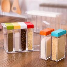 HOT 6pcs/set Transparent Plastic Spice Jar Colorful Seasoning Box Kitchen Spice Storage Bottle Jars Seasoning Bottle Container