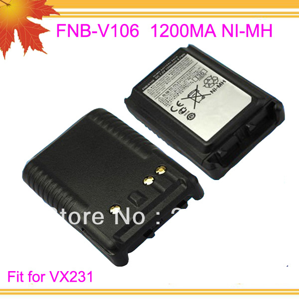 10pcs/lot Dfree shipping free FNB-V106 FNB V106 FNBV106 for 2 way radio VX231 1200mAh NI-MH Replacement battery