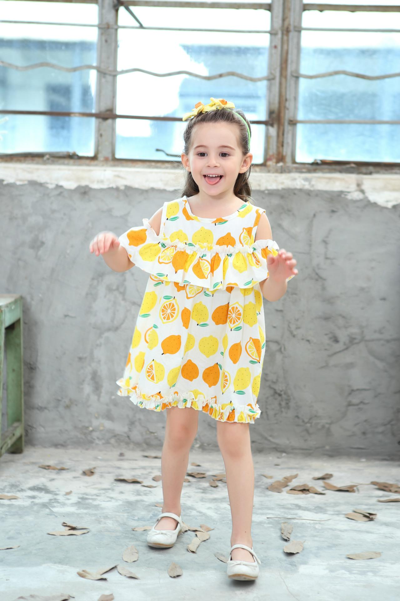 Lemon Printd Girls Dress 2018 New Summer Fashion Children Princess Dress Kids Children Clothes For 2 3 4 5 6 7 8 Years 4