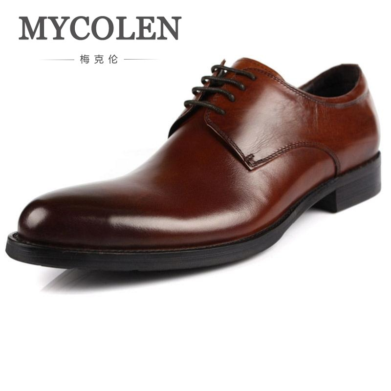 MYCOLEN Men Flat Genuine Leather Oxfords Lace-Up Business Men Dress Shoes European Wedding Shoes Male Sapato Masculino Couro patent leather men s business pointed toe shoes men oxfords lace up men wedding shoes dress shoe plus size 47 48