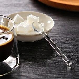 Image 5 - 1pc Clear Glass Stirring Coffee Spoon Tea Spoon Dinnerware Eco friendly Tableware Gift