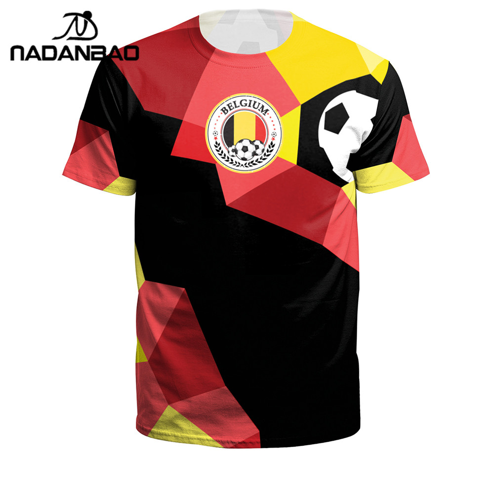 NADANBAO 2018 Summer Men/Women Belgium Football Shirt 3D Printing Soccer Jerseys O-neck Short Sport Camisa De Futebol Plus Size