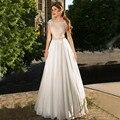 Elegant Beach Wedding Dresses Boho 2017 Lace Appliques Beaded Illusion Backless Floor Length Chiffon Plus Size Bridal Gowns
