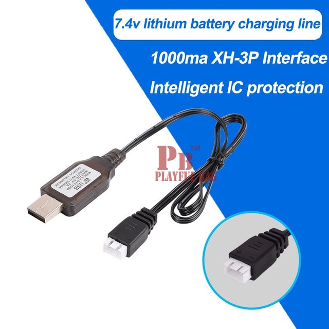 7.4v 1000mA lithium batteries balanced charger USB wire four axis remote control aircraft toy parts