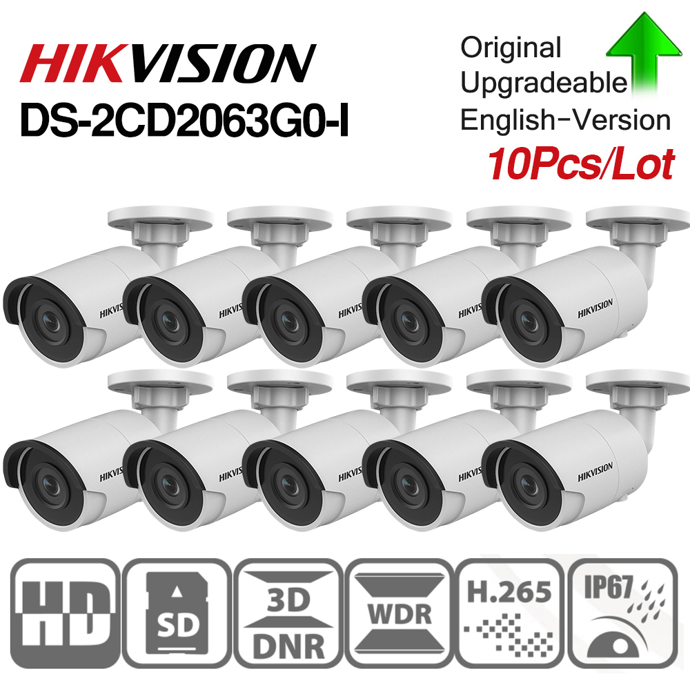 Hikvision Original 6mp IR Fixed Bullet Camera DS-2CD2063G0-I IP67 Network IP Wired POE IR30m security SD Card Slot 10pcs/lot