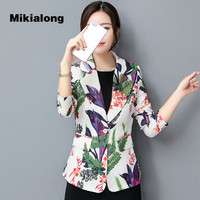 Mikialong 2017 New Fashion Floral Blazer Women Formal Wear To Work Women Jacket Blazer Feminina S