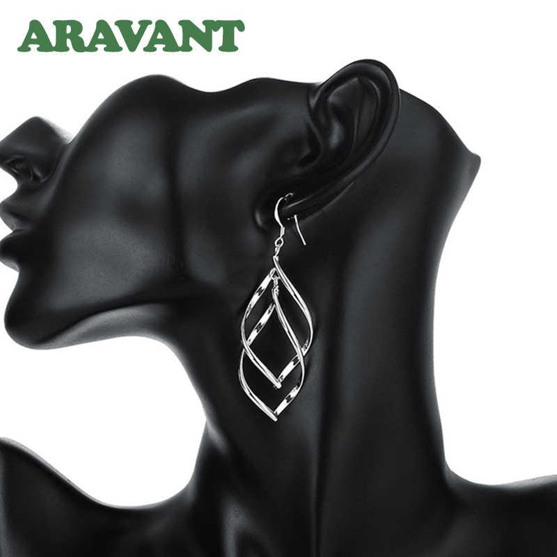 2019 New Arrival 925 biżuteria srebrna kobiety wysokiej jakości długie kolczyki wiszące spadek kolczyk biżuteria