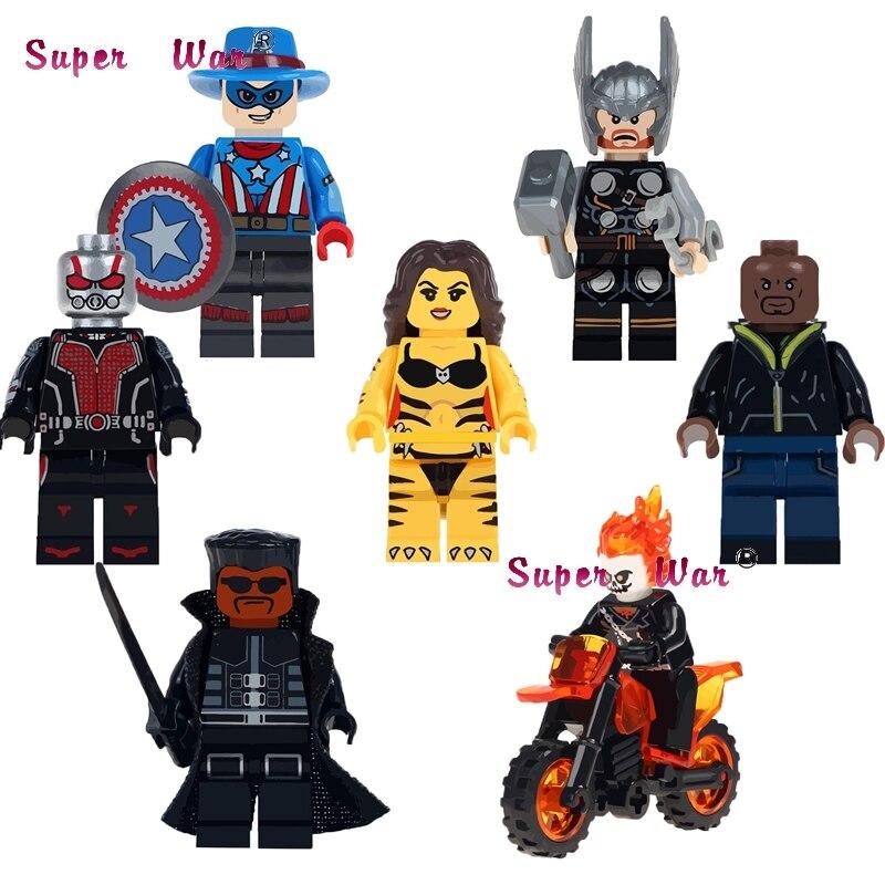 Bricks Toys Blade Luke Cage Building-Blocks Ghost Rider Antman Motorcycle Tigress Captain-America